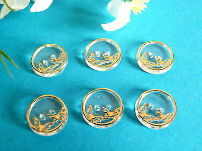 "260# Lovely Small Buttons "" Butterflies "" Transparent and Gold Set of 6 Buttons"