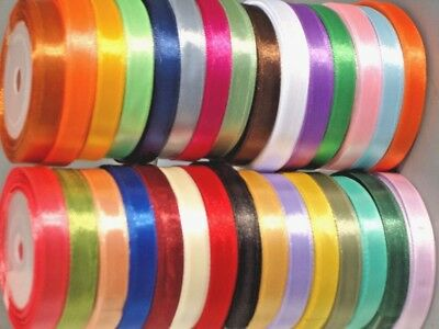 Double sided Satin Ribbon Full Reel Roll 12mm x 25m Craft Gift Christmas Wrap