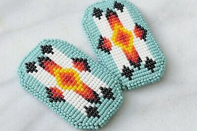 Vintage Southwest Style, Navajo, Handcrafted Pair of Beaded Barrettes