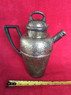 TABER & TIBBITS Vintage Antique T&T Hand Hammered Silver Plate Water Pitcher