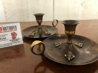 Antique Arts and Craft Pair of Chamber Candlestick Holders