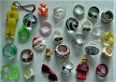 lot of 28 Collectible Vintage Rings and Charms Plastic Novelty Items