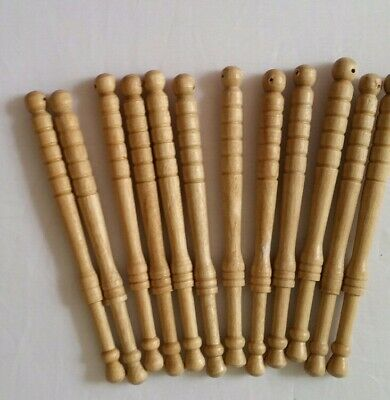 12 unused wooden lace bobbins from 1980s