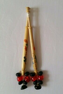 Hand painted pair vintage beaded lace bobbins with beads, spangles and cotton
