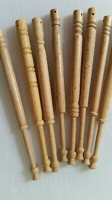 8 unused wooden lace bobbins from 1980s