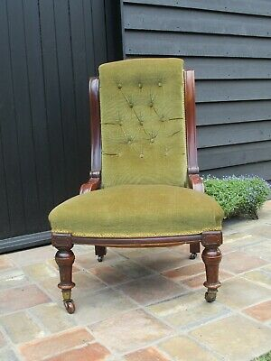 Antique Victorian Nursing Chair with Button Back