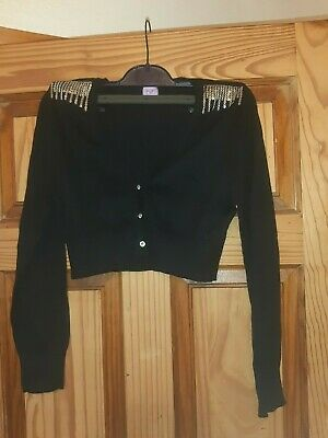 Girls Stunning Black And Silver Christmas/Party Cardigan Age 13-14 Years