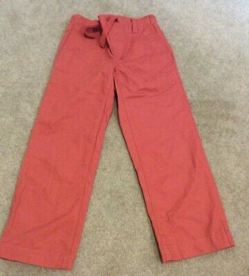 New Lands' End boys trousers 4 years burnt orange 100% cotton elasticated waist