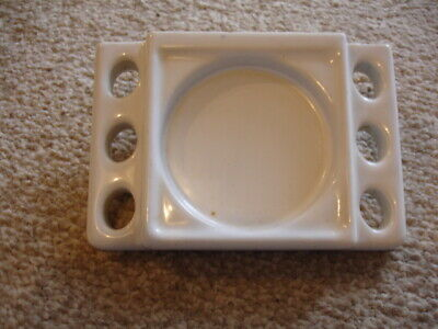 Vintage Ceramic 6 Toothbrush Holder Wall Mount White Cup Fixture