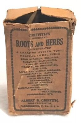 Antique Griffith's Medicinal Roots & Herbs Pill Box Apothecary Pharmacy Rare