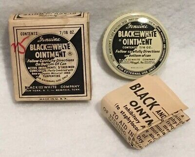Antique Black And White Ointment Advertising Medicine Tin With Box NOS