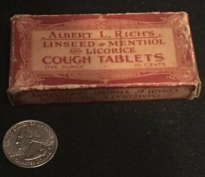 Antique Albert L. Rich's Linseed Menthol & Licorice Cough Tablets Rare Medicine