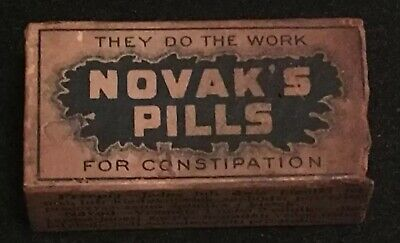 Antique Novak's Pills For Constipation Apothecary Pharmacy Box Extremely Rare
