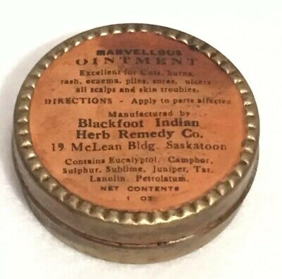 Antique Marvellous Ointment Blackfoot Indian Remedy Co. Tin Rare