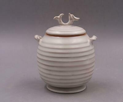 chinese old handmade Your kiln White glazed porcelain tea caddy 08489