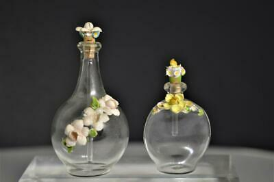 Antique Handblown Glass Perfume Bottle with Painted Seashell Flowers Lot of 2