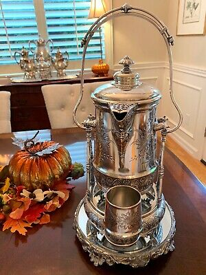 Stunning Quadruple Silver Plate TILTING Ice Water PITCHER. Frame, Cup & Plateau