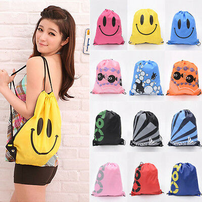 Unisex Smile Face Waterproof Cute Drawstring Backpack Gym PE Swim School Bags