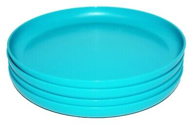 """Tupperware Set of 4 Party Plates Round 9.5"""" Luncheon Dishes Aqua Blue"""