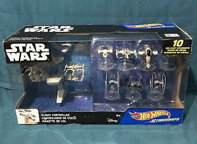 Star Wars Disney Hot Wheels 10 Die-Cast Starships & Flight Controller NIB (390)
