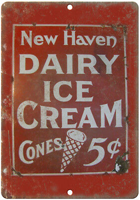 """New Haven Dairy Ice Cream Porcelain Look 10"""" X 7"""" Reproduction Metal Sign U91"""