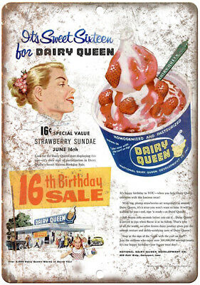 """Dairy Queen Ice Cream Vintage Ad 10"""" X 7"""" Reproduction Metal Sign N162"""