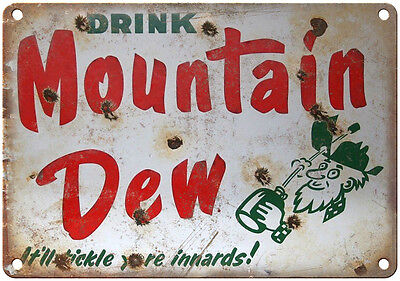 """Porcelain Look Drink Mountain Dew Soda 10"""" x 7"""" Reproduction Metal Sign"""