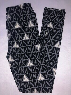 (BoxHH) LuLaRoe Kids Leggings L/XL New Gray W/ Black & White Design