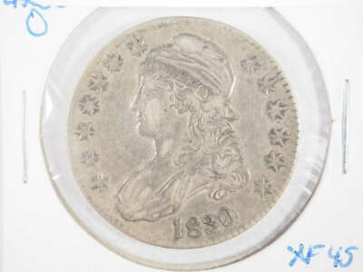 1830 P Capped Bust Lettered Edge Half Dollar Small 0 & Letters Extra Fine (XF)