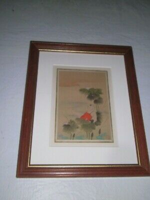 Vintage Chinese Painting on Silk of Child | Lotus Flowers Gallery Framed 11x13.5