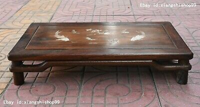 Chinese Huanghuali Wood inlay shell lotus fish Pattern Kang Table Desk Furniture