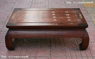 China Huanghuali Wood inlay shell flower word Furniture table Desk Tables Statue