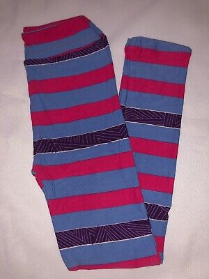 (BoxII) LuLaRoe Kids Leggings L/XL New Blue Pink Purple Design Stripes