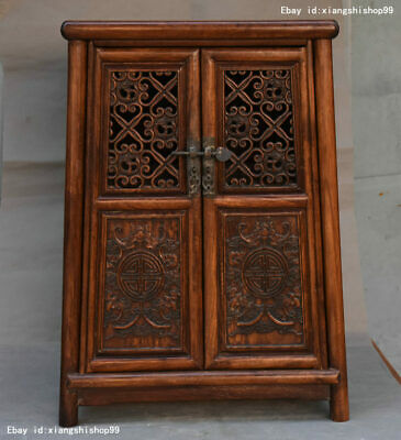 Chinese Huanghuali Wood Hand carved Classical furniture Lockers Storage Cabinet