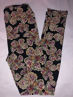 (BoxII) LuLaRoe Kids Leggings L/XL New Black W/ Multicolor Fun Floral
