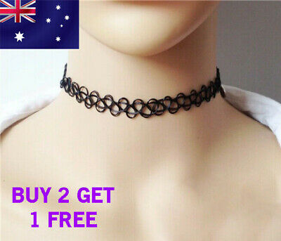 TATTOO CHOKER NECKLACE  Black Hippy 90s Stretch Tattoo Elastic Choker Necklace
