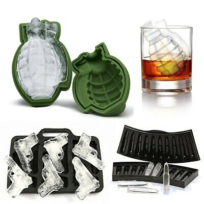 BCA8 3D Bullet Shaped Freezer Ice Cube Tray Mold Maker Bar Party Drink Tools
