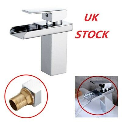 Luxury Chrome Bathroom Vanity Sink Basin Waterfall Spout Mixer Tap Lever Faucet