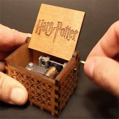 Engraved Wooden Hand Crank Music Box Harry Potter Toy Birthday Gift For Kids