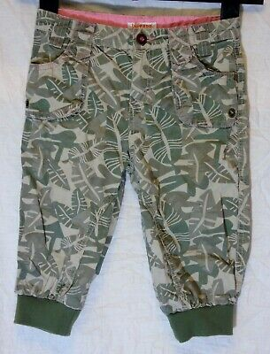 Girls Debenhams Khaki Green Tropical Leaf Cuffed Cropped Trousers Age 7 Years