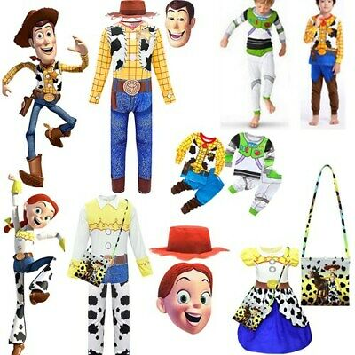 Christmas Kid Toy Story 4 Cosplay Woody Jessie Cowboy Fancy Dress Outfit Costume