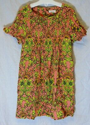Girls Next Coral Pink Yellow Floral Soft Viscose Short Sleeve Dress Age 6 Years