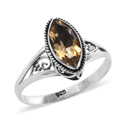 Solitaire Ring 925 Sterling Silver Marquise Citrine Jewelry for Women