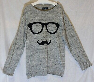 Boys Next Grey Black Fleck Moustache Glasses Novelty Funny Jumper Age 7 Years