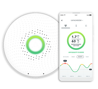 Airthings Wave Smart Radon Detector Home Air Quality Monitor