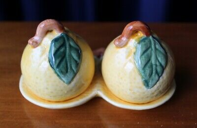 Vintage Ceramic Stylised Lemons On A Tray Salt & Pepper Shakers