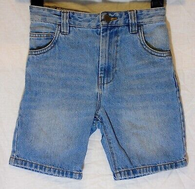 Boys Next Mid Blue Whiskered Denim Adjustable Waist Shorts Age 7 Years