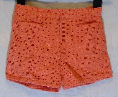 Girls Next Coral Pink Broderie Anglaise Lined Smart Textured Shorts Age 6 Years