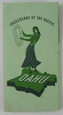 Vintage Oahu Hawaii Territory Map Hula Girl Crossroads of the Pacific 1940