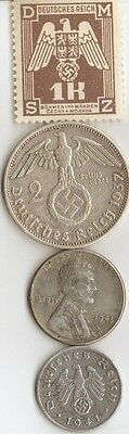 - 4 -*WW2 - Zink,  Steel,   and   SILVER     - *us   and - *german coins/++